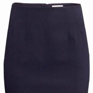 HM Navy Pencil Knee-length Skirt
